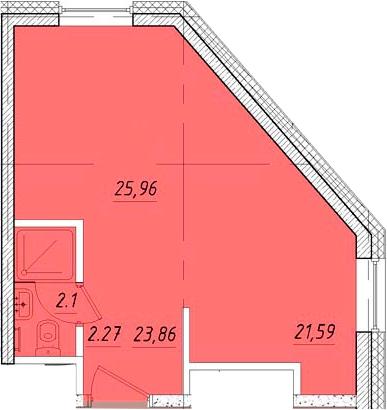 Студия, 25.96 м²