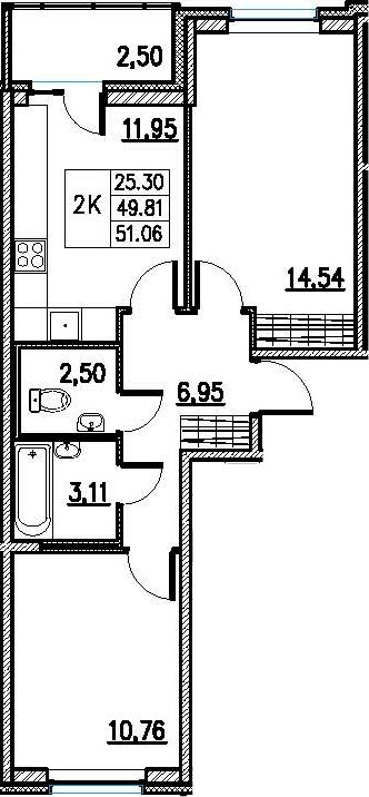 2-к.кв, 52.31 м²