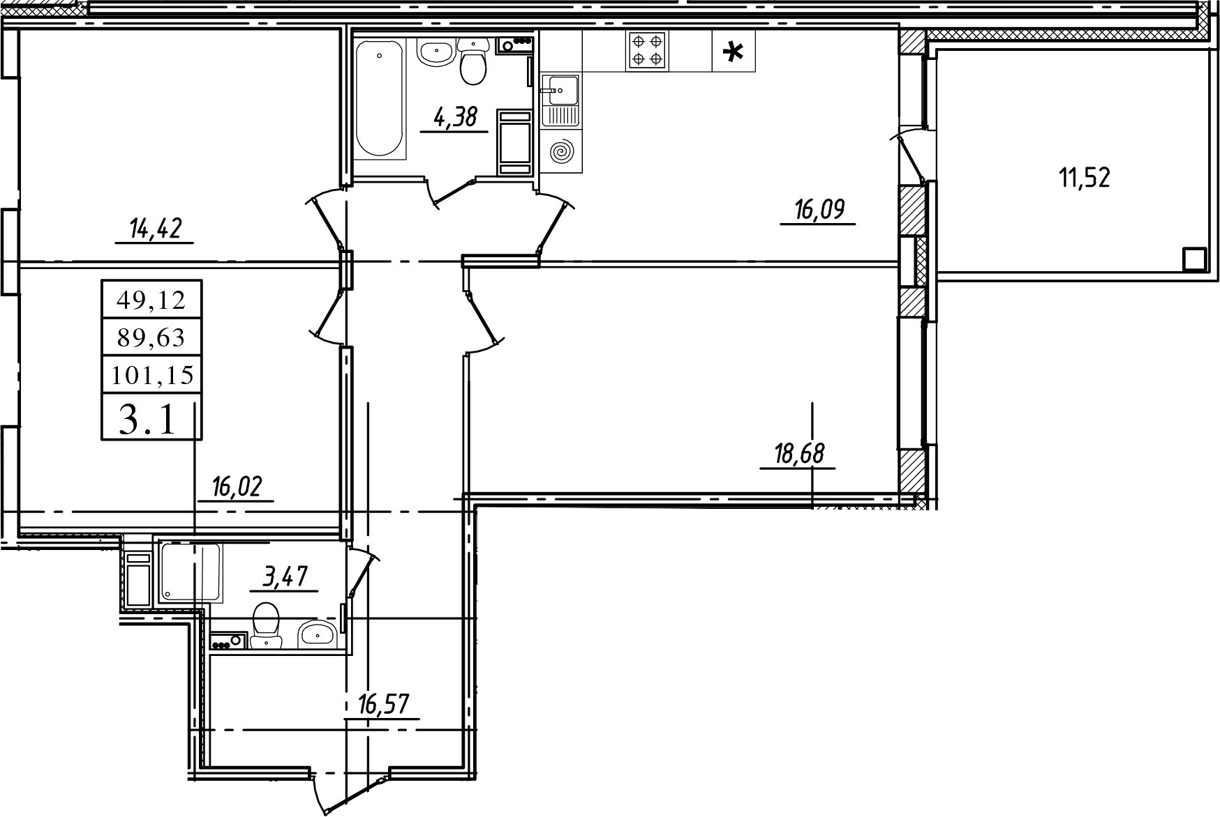 3-к.кв, 89.63 м²