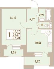 1-комнатная, 37.9 м²– 2