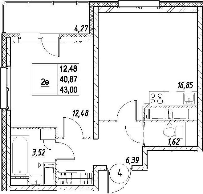 2-к.кв (евро), 45.14 м²