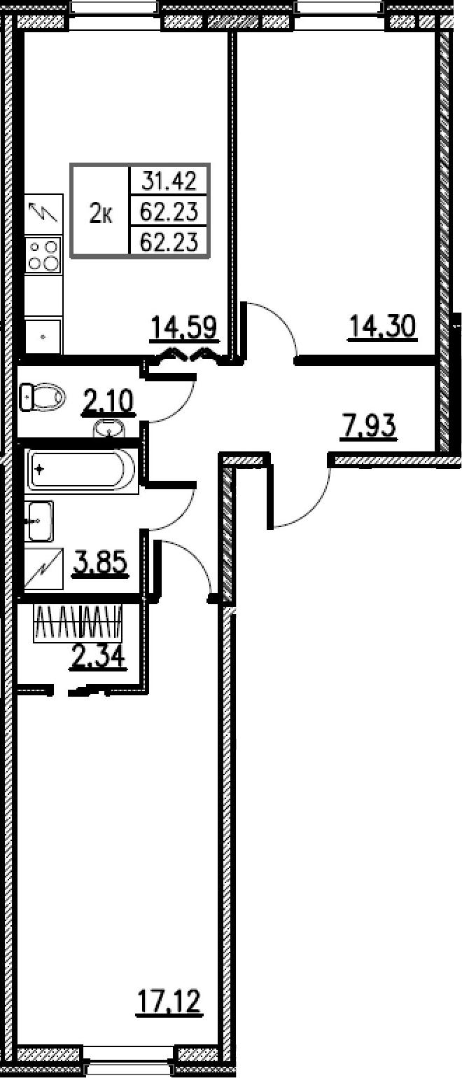 2-комнатная, 62.23 м²– 2