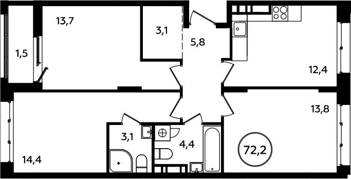 3-к.кв, 72.2 м²