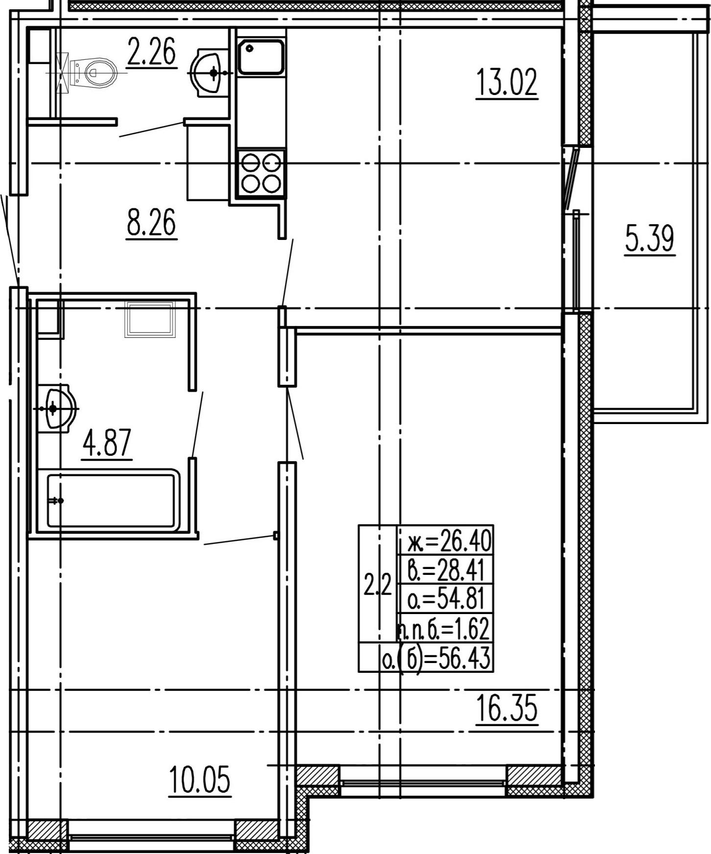 2-к.кв, 60.2 м²
