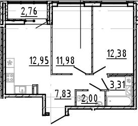 3Е-к.кв, 50.45 м², 21 этаж