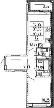 2-к.кв (евро), 41.37 м²