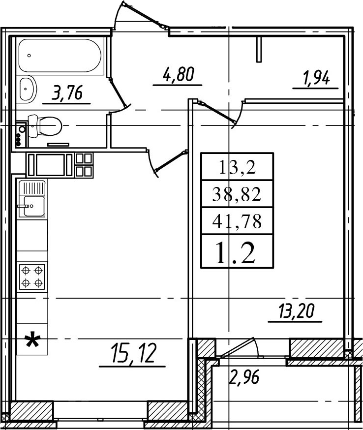 2Е-к.кв, 38.82 м²