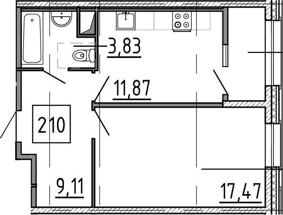 1-к.кв, 45.88 м²