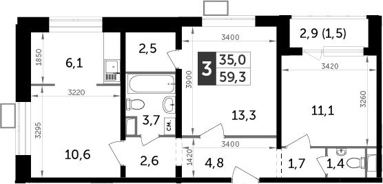 3Е-к.кв, 59.3 м²