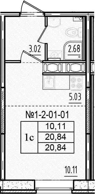 Студия, 20.84 м²