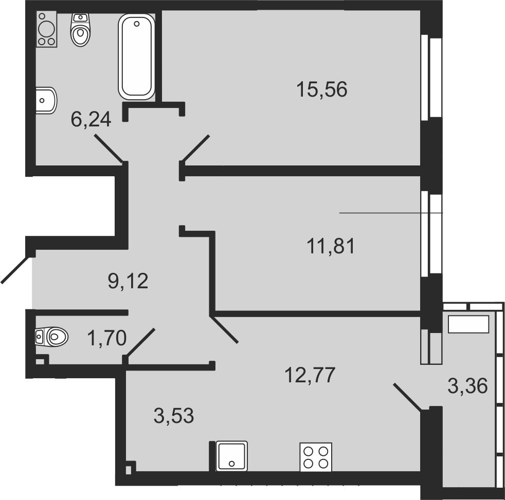 3-к.кв (евро), 64.14 м²