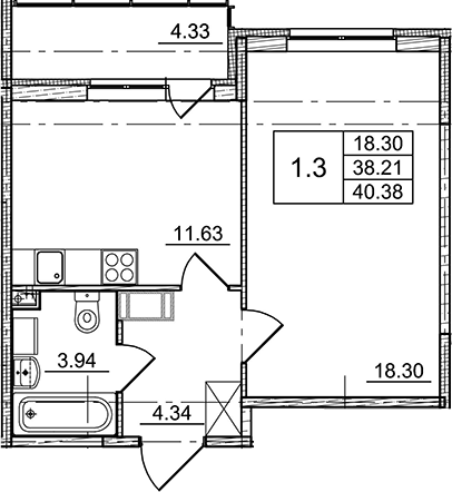 1-к.кв, 38.21 м², 10 этаж