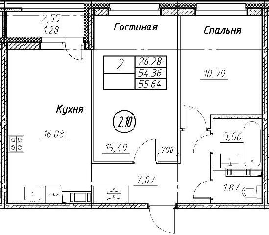 3Е-к.кв, 55.64 м²