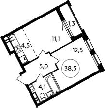 2Е-к.кв, 38.5 м², 11 этаж