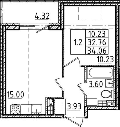 2Е-к.кв, 32.76 м²