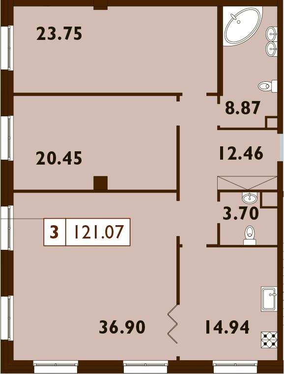 3-комнатная, 121.07 м²– 2