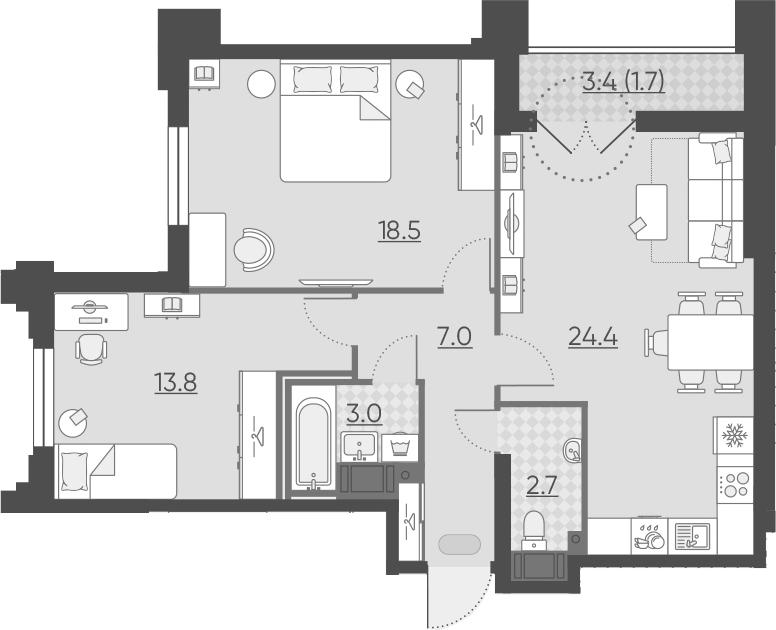 3Е-к.кв, 71.1 м², от 6 этажа