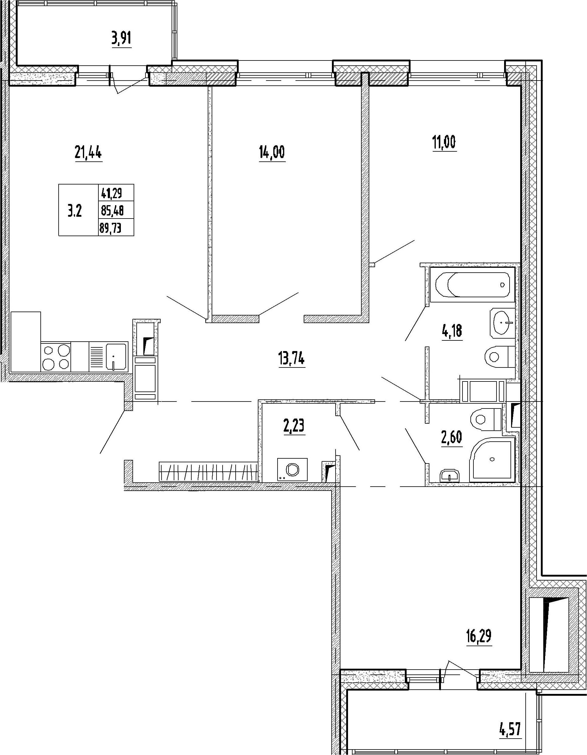 4-к.кв (евро), 93.96 м²