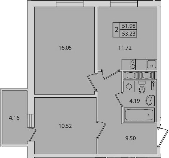 2-к.кв, 53.23 м², от 5 этажа