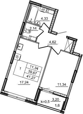 2Е-к.кв, 41.27 м²
