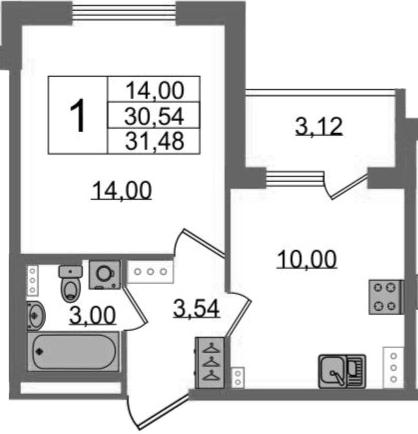 1-комнатная, 30.54 м²– 2