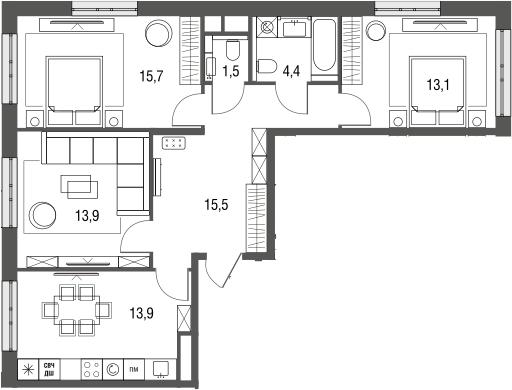 3-к.кв, 78 м², от 3 этажа