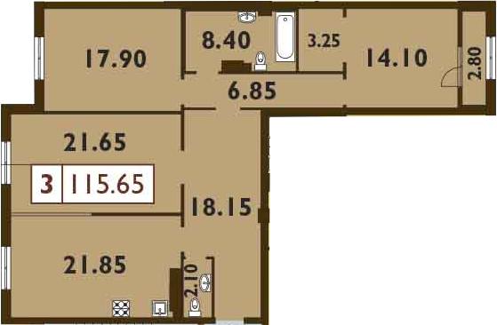 4-к.кв (евро), 117.05 м²