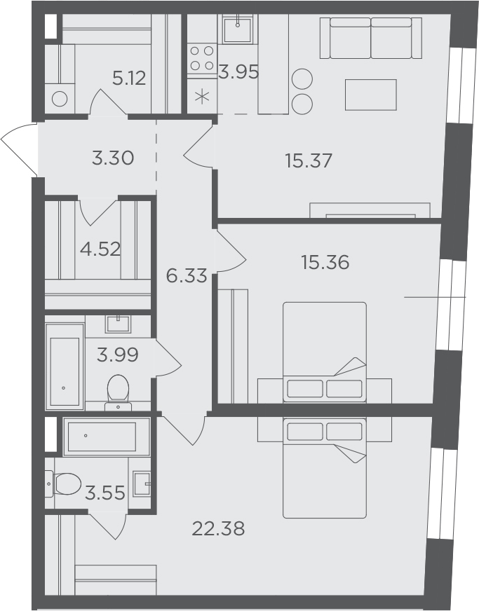 3Е-к.кв, 83.87 м², 13 этаж