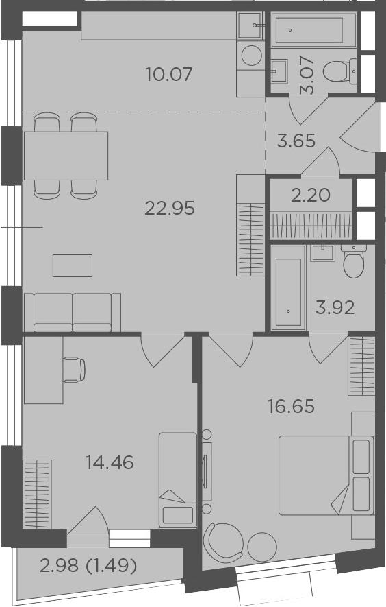 3Е-комнатная, 78.46 м²– 2