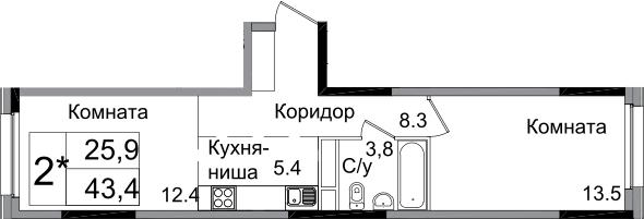 2Е-комнатная, 43.4 м²– 2