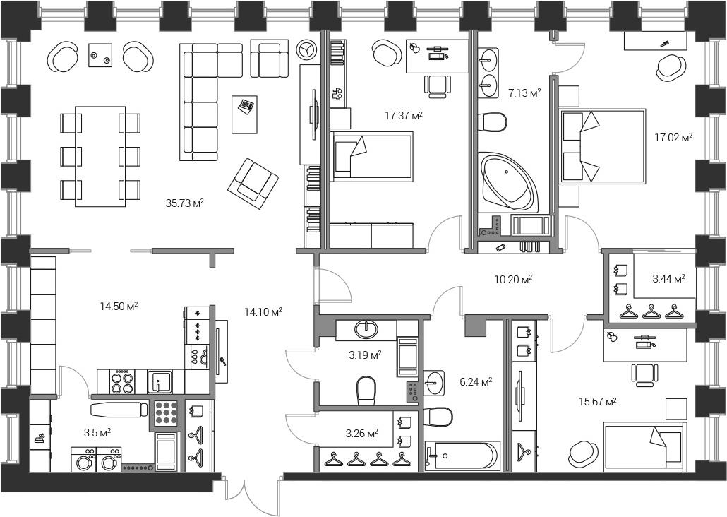 4Е-комнатная, 151.4 м²– 2