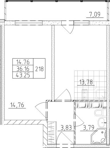 1-комнатная, 38.29 м²– 2