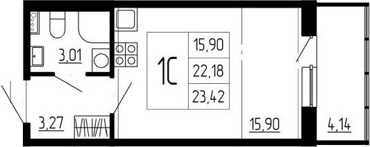 Студия, 22.18 м²