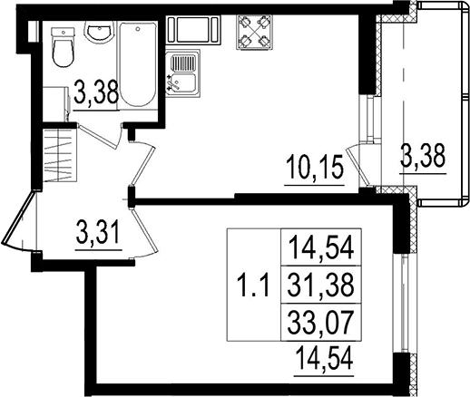 1-к.кв, 31.38 м²