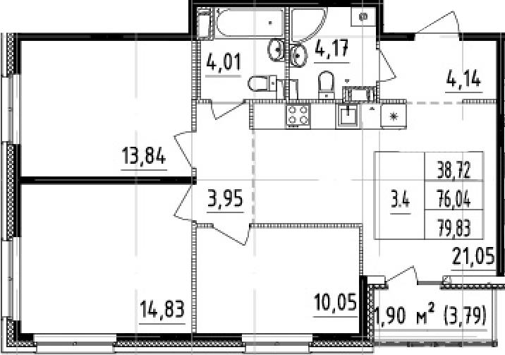 4Е-комнатная, 76.04 м²– 2