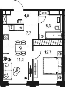 2Е-к.кв, 42.4 м²