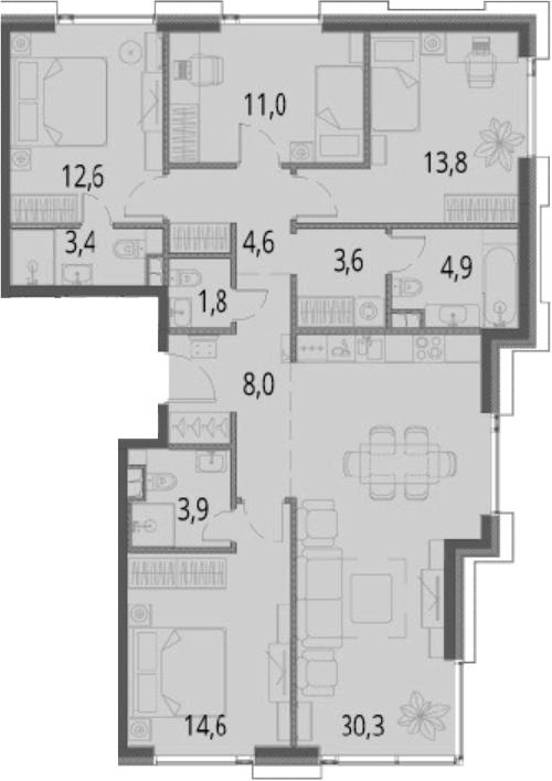 5Е-комнатная, 112.5 м²– 2