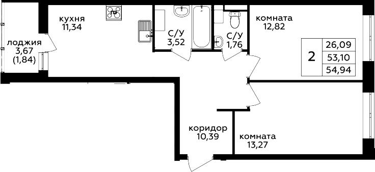 2-к.кв, 54.94 м²