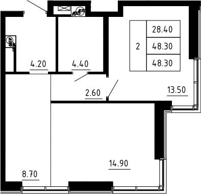 2Е-к.кв, 48.3 м², 5 этаж