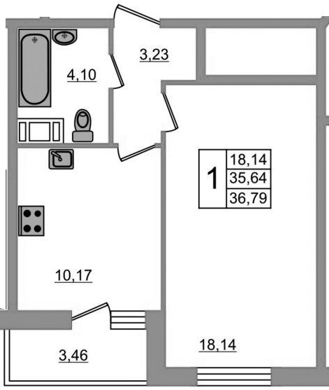 1-к.кв, 39.58 м²