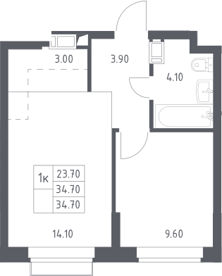 2Е-к.кв, 34.7 м², 6 этаж