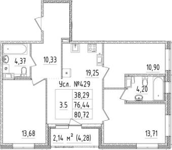 4Е-к.кв, 76.44 м², 3 этаж