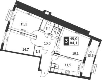 3-комнатная, 84.1 м²– 2