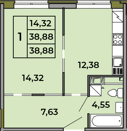 1-к.кв, 38.88 м², 2 этаж