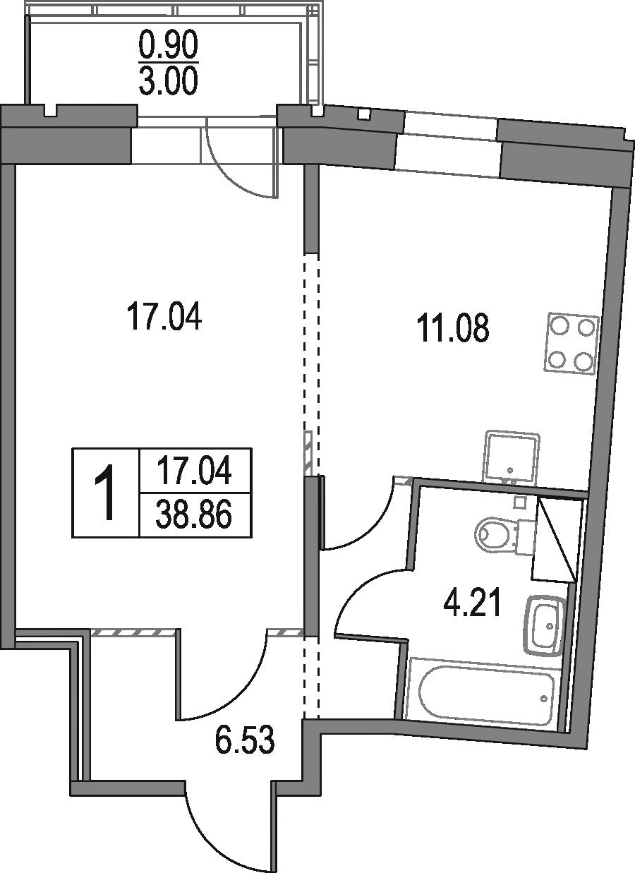 1-к.кв, 38.86 м², от 18 этажа