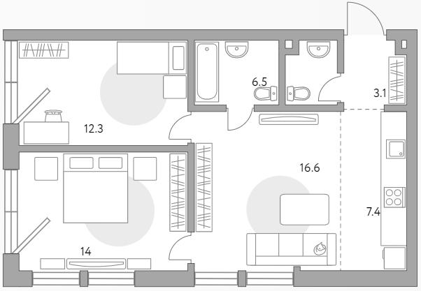 3Е-к.кв, 59.9 м²