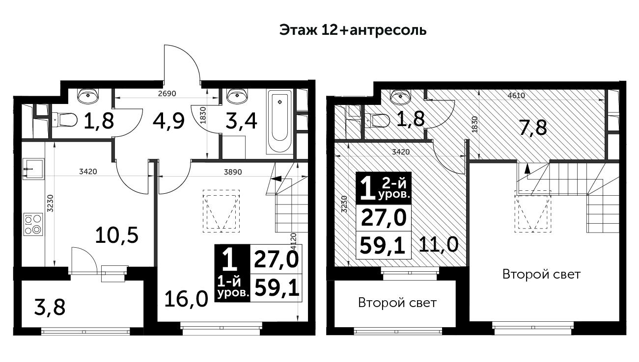 1-к.кв, 59.1 м²