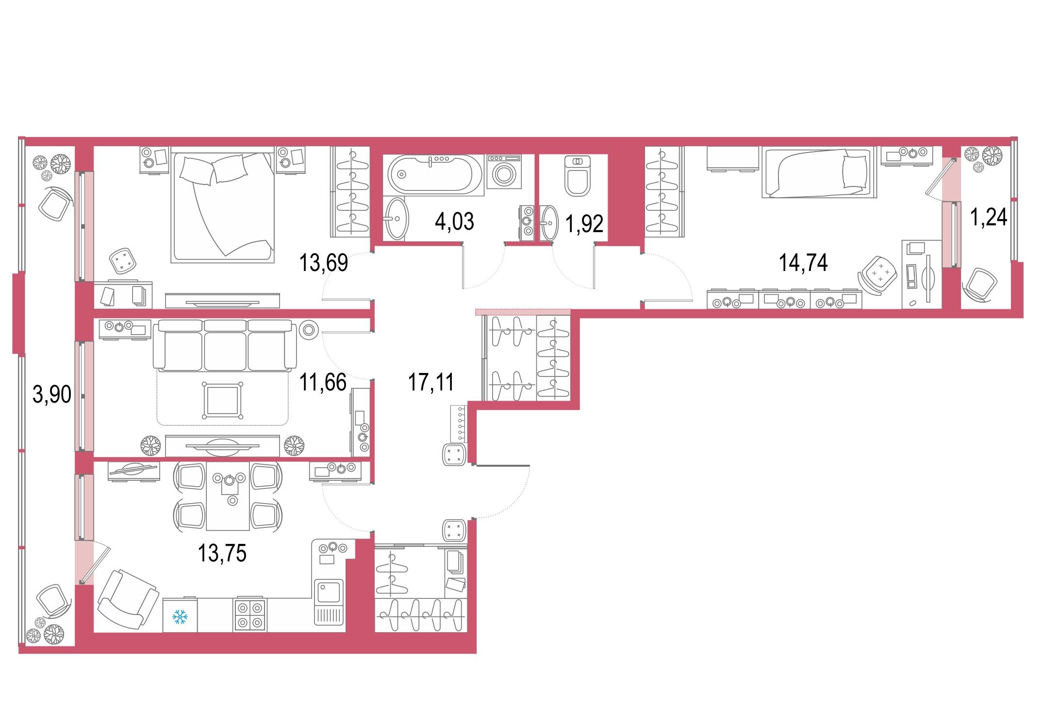 3-к.кв, 87.18 м²