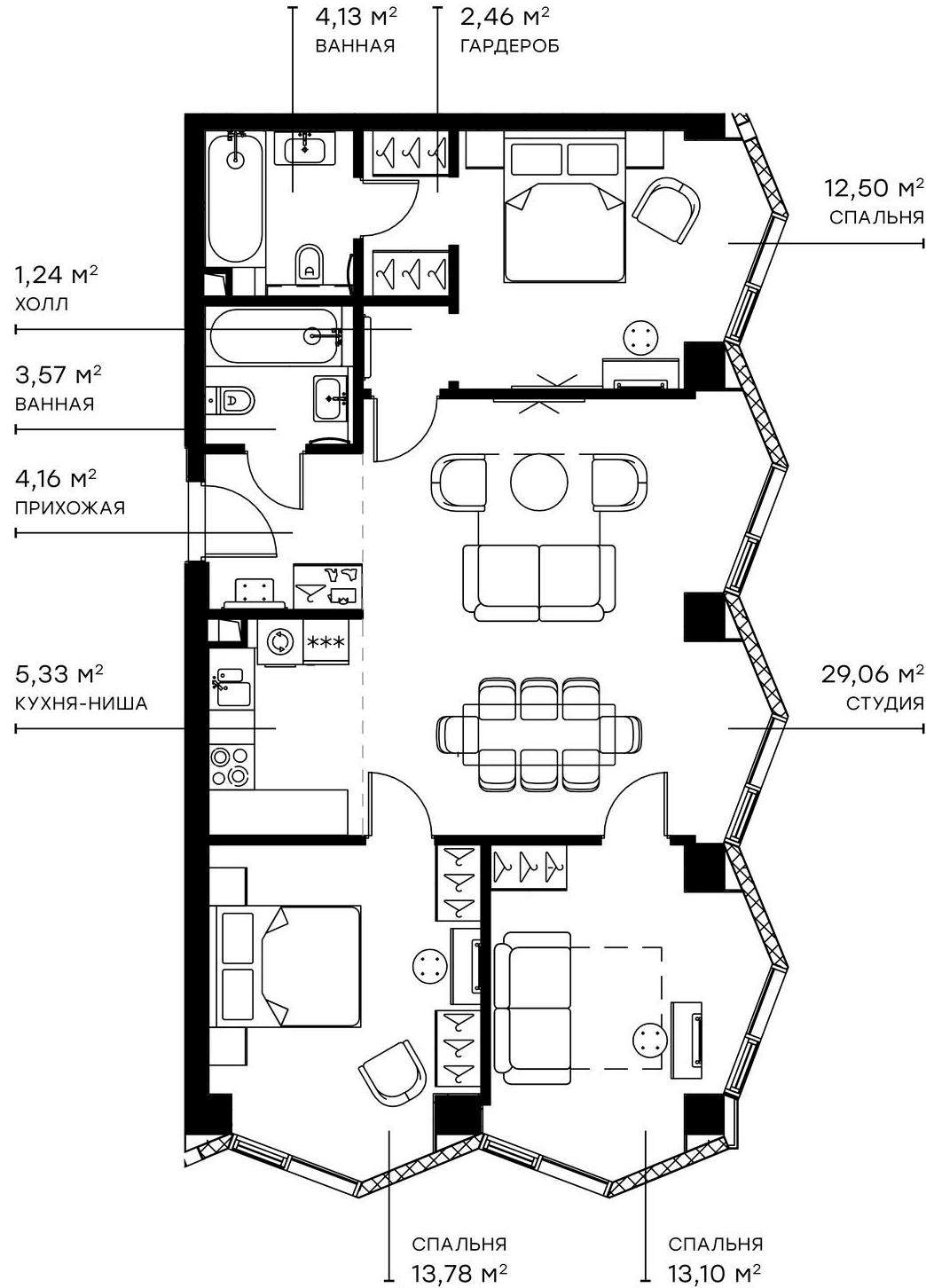 4Е-комнатная, 89.33 м²– 2