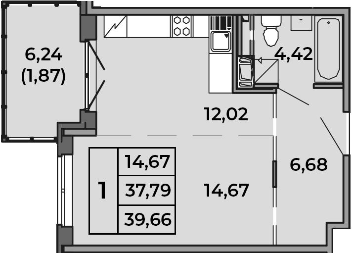 Студия, 37.79 м², 4 этаж